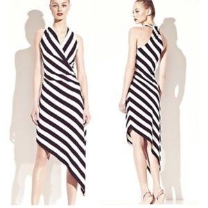 Betsy Johnson striped asymmetrical racerback dress